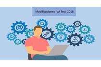 Modificaciones en IVA de finales del año 2018