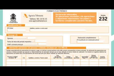 Modelo 232: Declaración informativa de operaciones vinculadas.